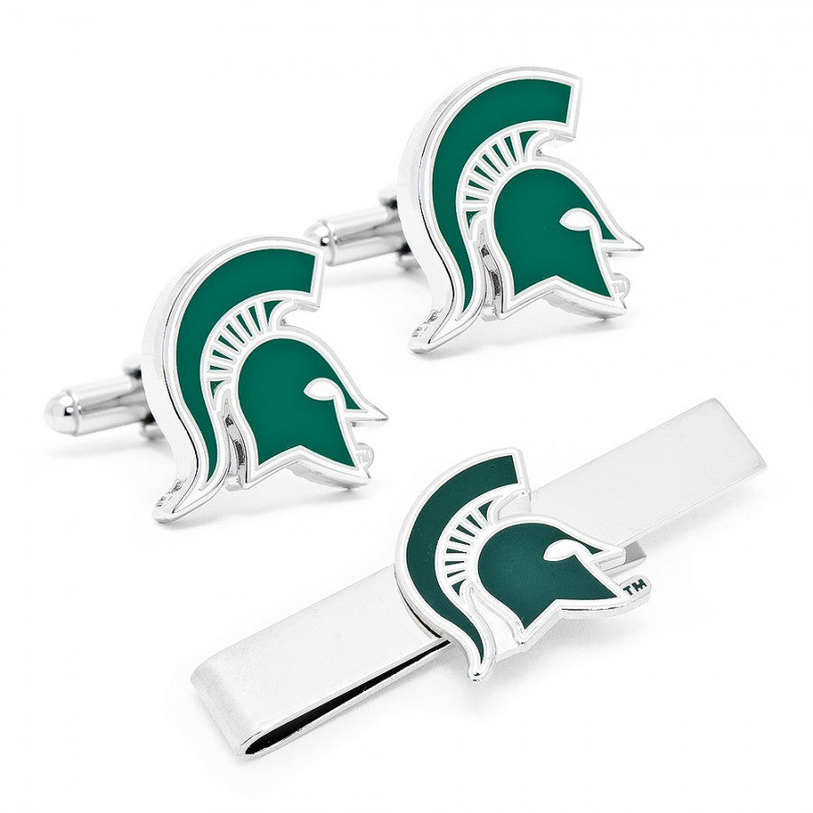 Michigan State Spartans Cufflinks and Tie Bar Gift Set