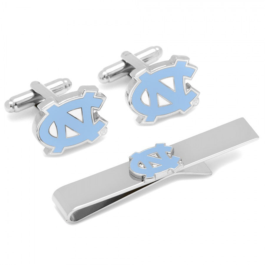 North Carolina Tarheels Cufflinks and Tie Bar Gift Set