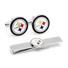 Silver Pittsburgh Steelers Cufflinks and Tie Bar Gift Set