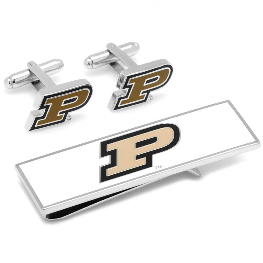 Purdue Boilermakers Cufflinks and Money Clip Gift Set