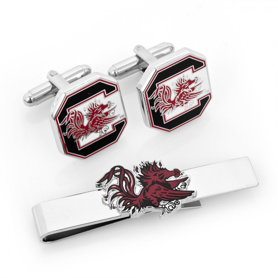 South Carolina Gamecocks Cufflinks and Tie Bar Gift Set