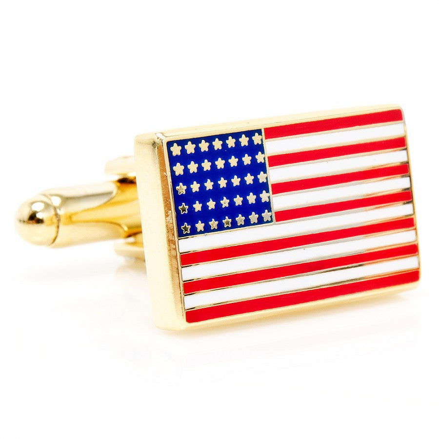 Gold American Flag Cufflinks