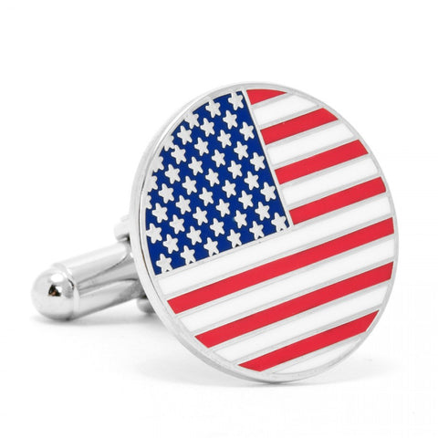 "Nickel Plated, 3/4"" American Flag Cufflinks"