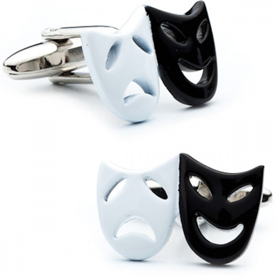 Enamel Comedy and Tragedy Masks Cufflinks