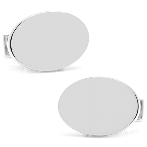 Infinity Edge Oval Engravable Cufflinks