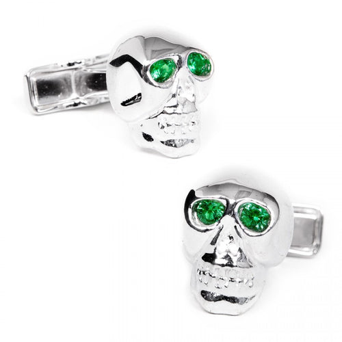 Emerald Crystal Eyes Skull Cufflinks