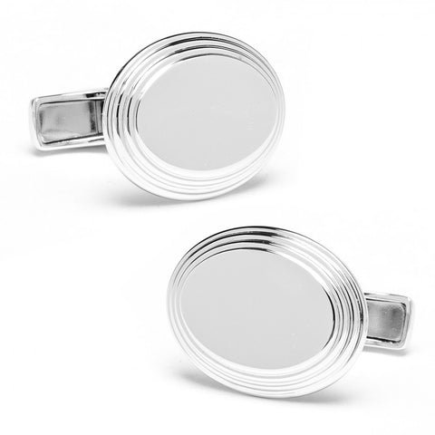 Sterling Oval Step Cufflinks