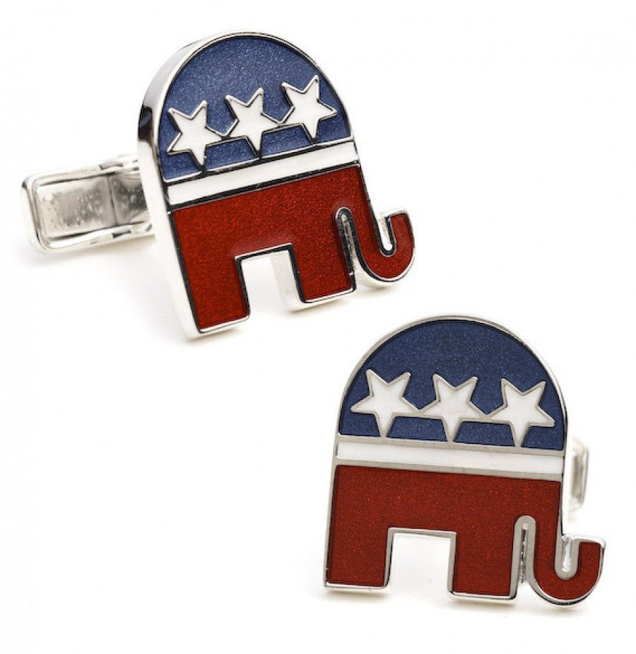 Sterling Republican Elephant Cufflinks