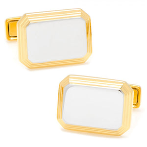 Two Tone Rectangular Cufflinks