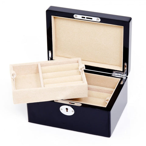 Black Bonded Leather Cufflinks Collector's Case