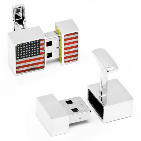 Matte Silver 8GB USB Flash Drive Cufflinks