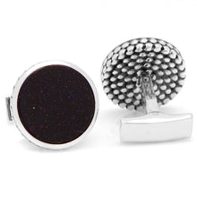 Sterling Round Scaled Blue Goldstone Cufflinks