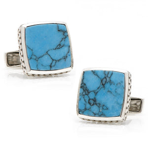 Sterling Classic Scaled Turquoise Cufflinks