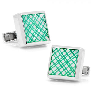 Sterling Green Etched Plaid Mother of Pearl Cufflinks