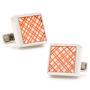 Sterling Orange Etched Plaid Mother of Pearl Cufflinks