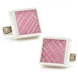 Sterling Pink Catseye Etched Plaid Cufflinks