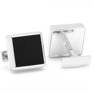 Sterling Onyx Etched Diamond Cufflinks