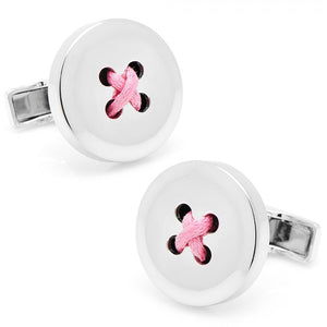 Sterling Silver Button Cufflinks with Pink Thread