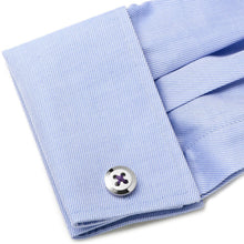 Sterling Silver Button Cufflinks with Purple Thread