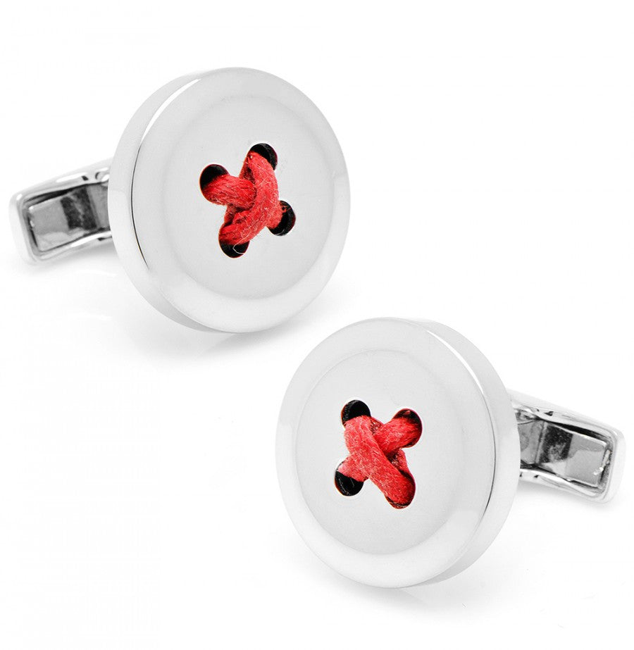 Sterling Silver Button Cufflinks with Red Thread