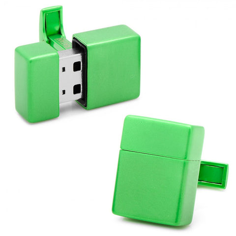 Green 8GB USB Flash Drive Cufflinks