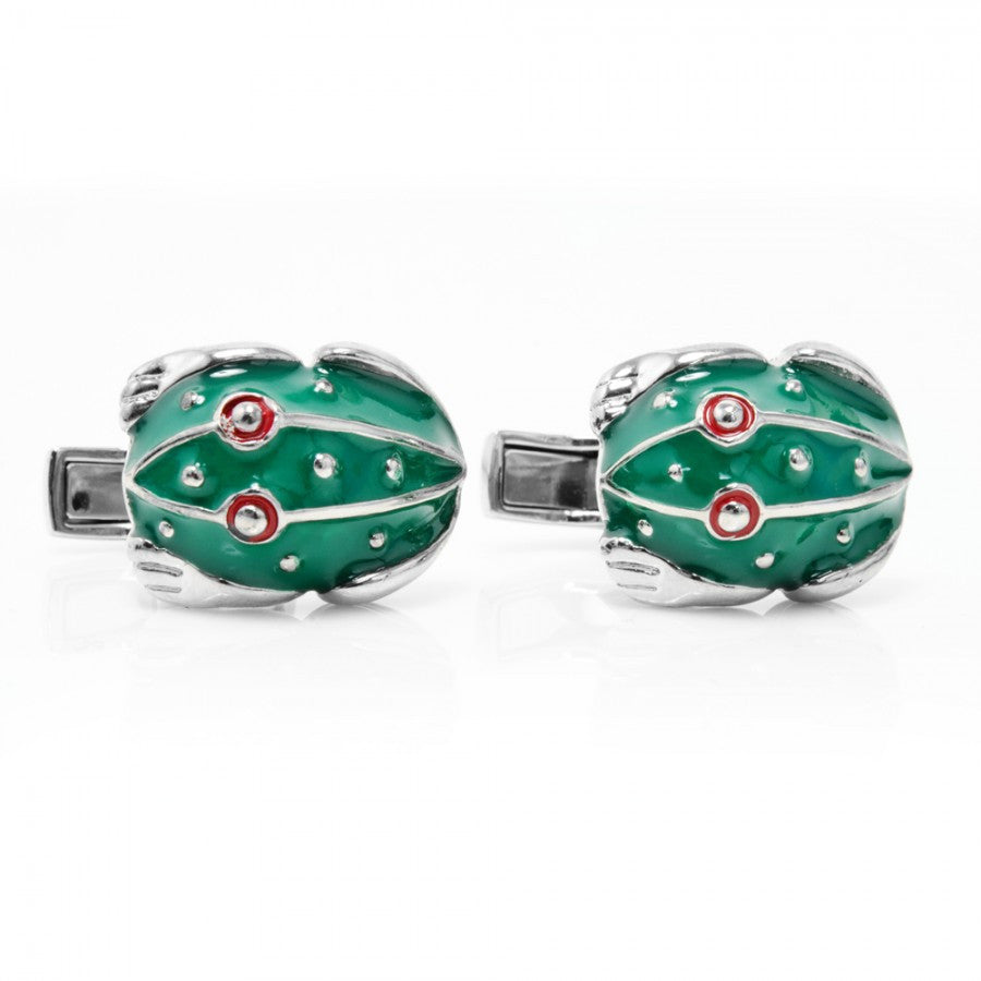 Green Enamel Frog Cufflinks