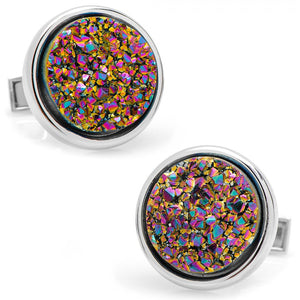 Round Purple Druzy Cufflinks