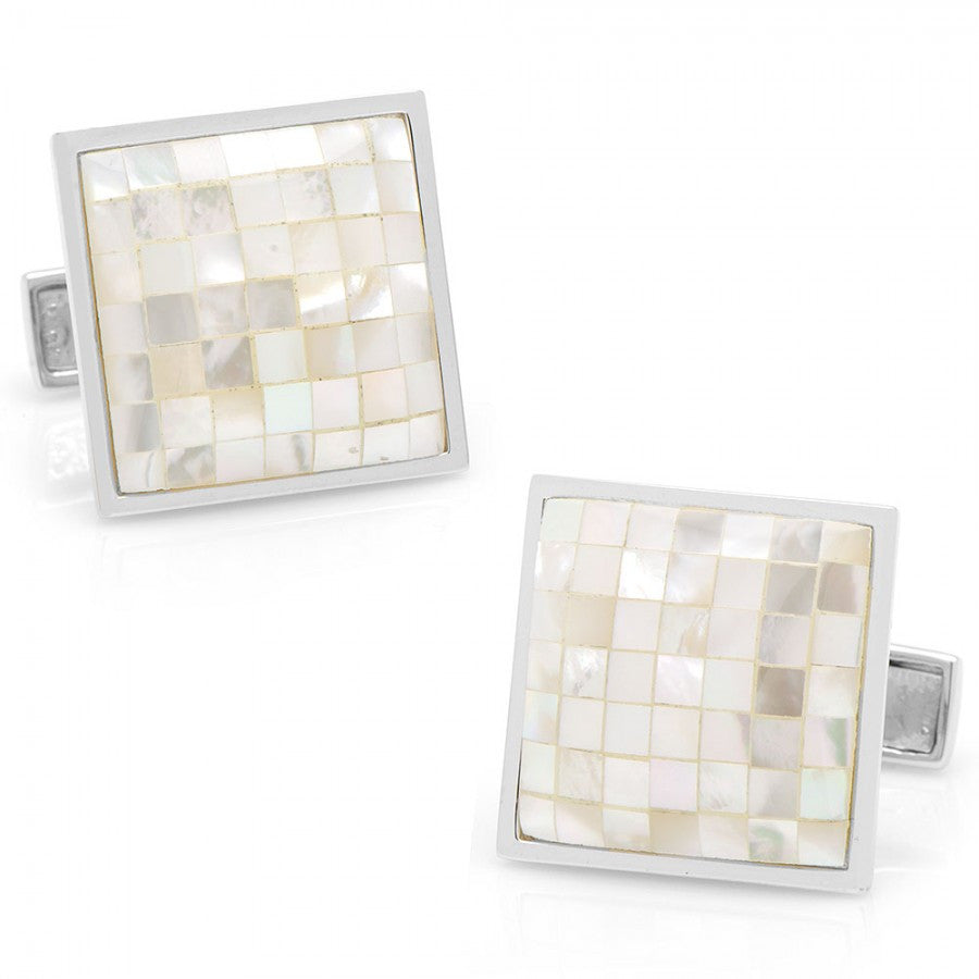 Sterling Mother of Pearl Mosaic Cufflinks
