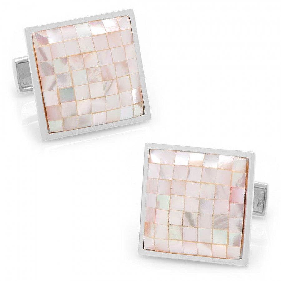 Sterling Pink Mother of Pearl Mosaic Cufflinks