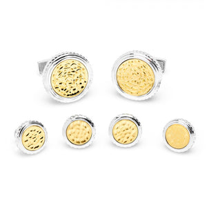 Sterling Round Two Tone Hammered Opus Stud Set