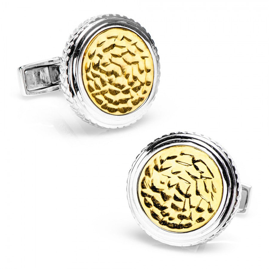 Sterling Round Two Tone Hammered Opus Cufflinks