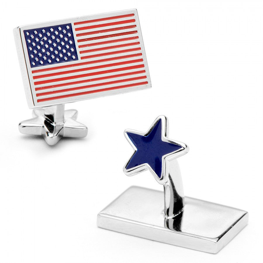 USA Flag and Star Palladium Cufflinks