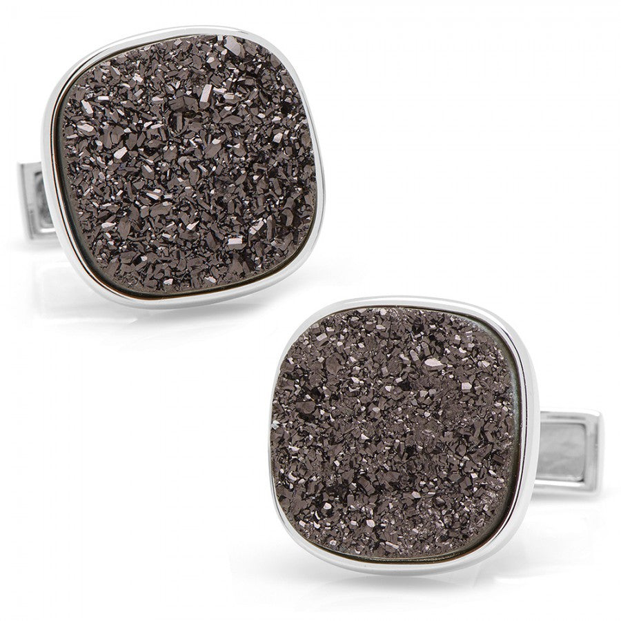 Sterling Black Square Druzy Cufflinks