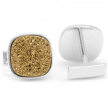 Sterling Gold Square Druzy Cufflinks