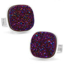 Sterling Red Square Druzy Cufflinks