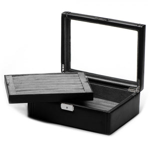 Deluxe Black Bonded Leather Cufflinks Collectors Case
