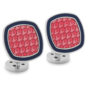 Palladium Pink and Navy Houndstooth Cufflinks