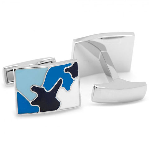Palladium Sky Blue Camo Cufflinks