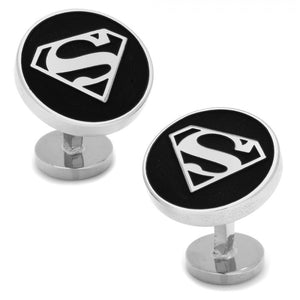 Recessed Black Superman Shield Cufflinks