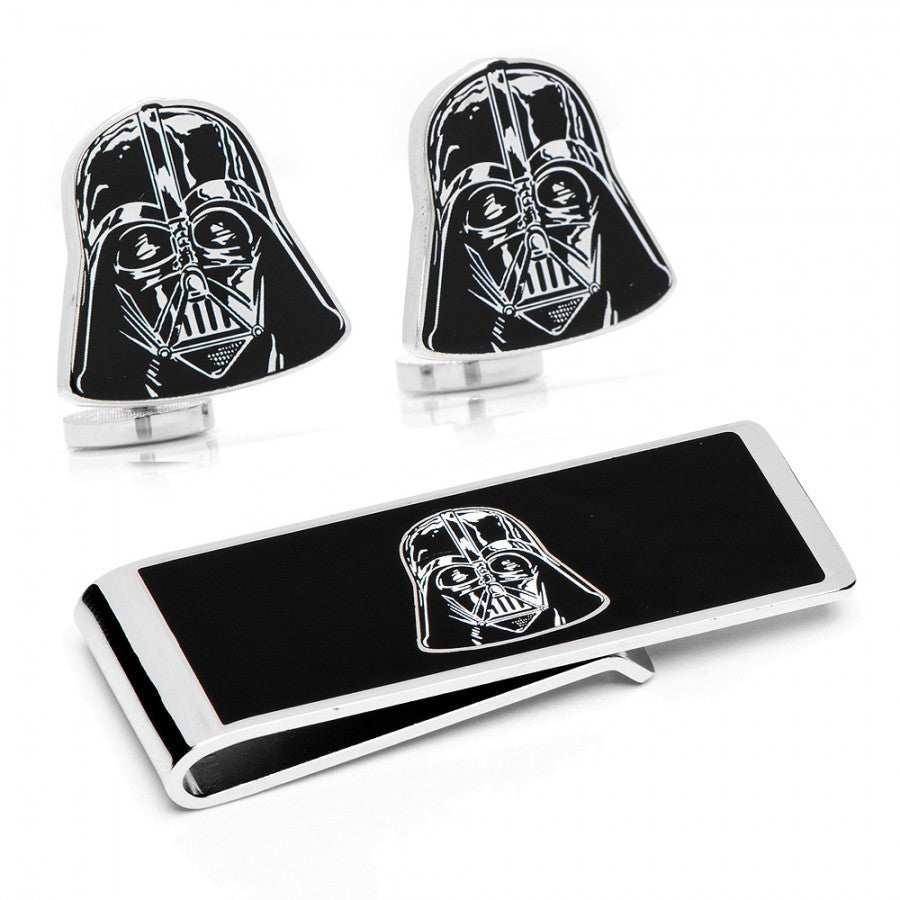 Darth Vader Head Cufflinks and Money Clip Gift Set