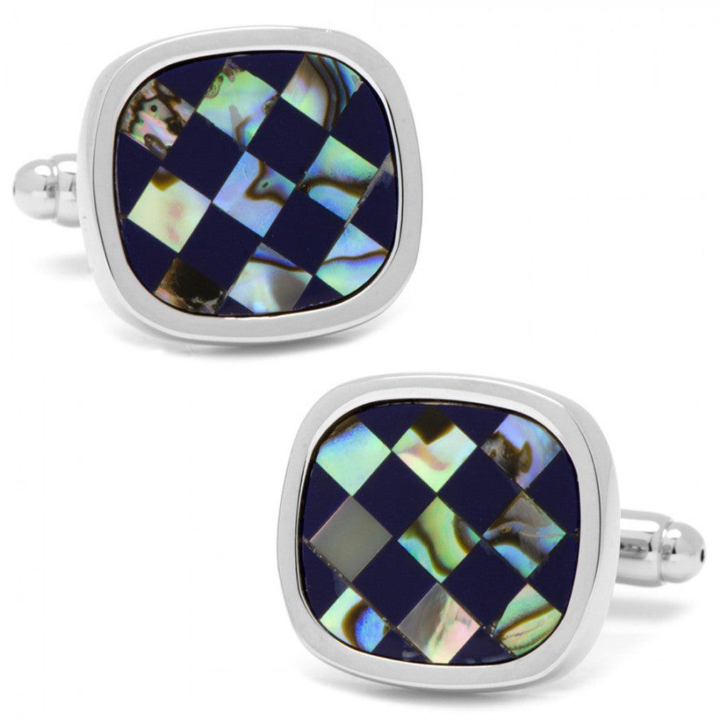 Abalone and Lapis Checker Cushion Cufflinks
