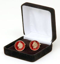 Hand-Painted England Farthing Coin Cufflinks with Blue Background
