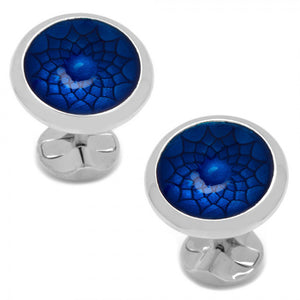 Geo Floral Blue Concave Disc Cufflinks