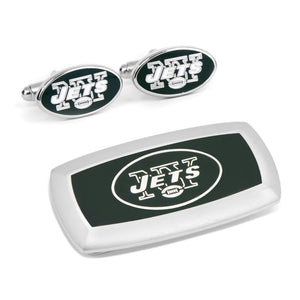 New York Jets Cufflinks and Cushion Money Clip Gift Set