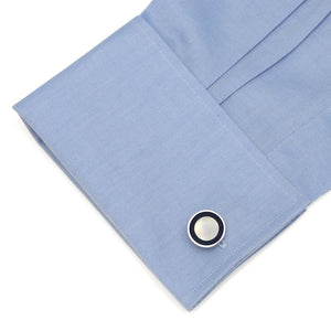 Navy Rim MOP Round Stainless Steel Cufflinks