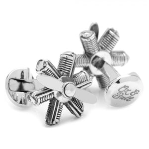 Moving Plane Engine Cufflinks