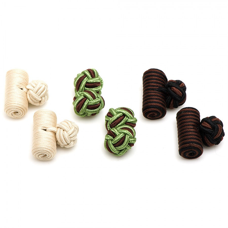 Earth Tones Silk Knot Combo Cufflinks