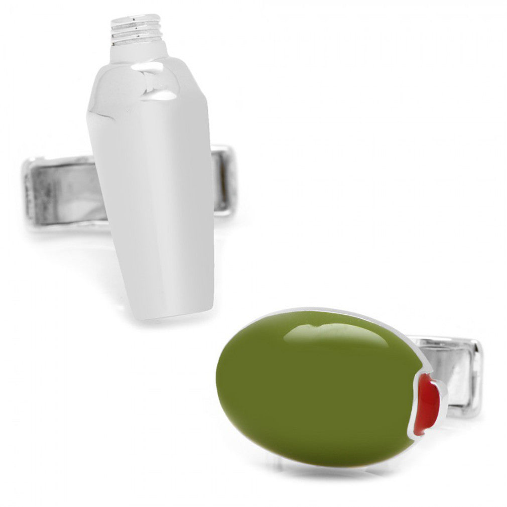 Sterling Olive and Martini Shaker Cufflinks