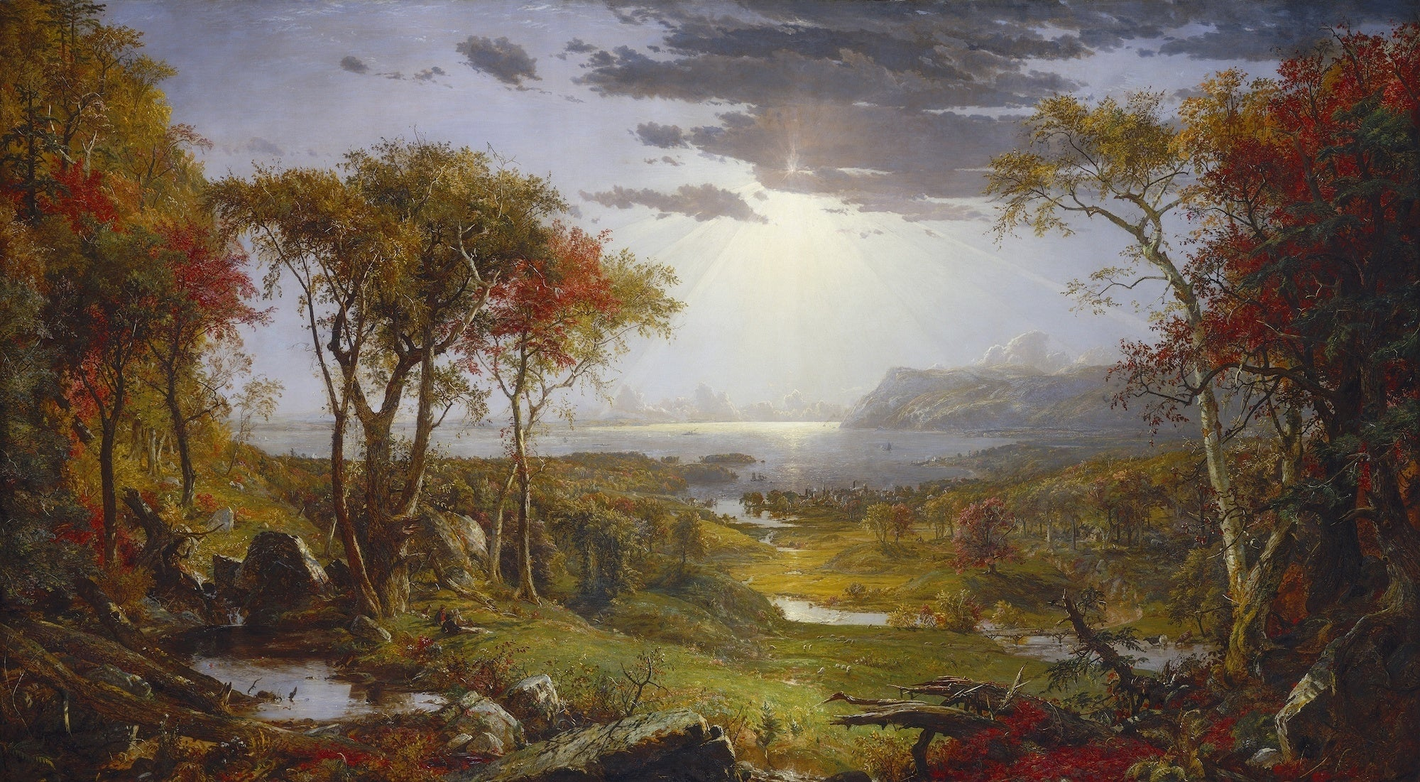 Autumn-On the Hudson River, Jasper Francis Cropsey, 1860, American painting, oil on canvas. The view is toward the southeast and includes Storm King. Cropsey painted the large canvas in his London studio