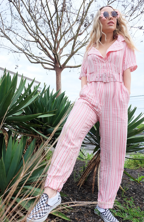 Uncoded Era - Soda Pop Jumpsuit, full body front - styled with sunglasses